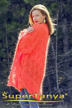 Lace orange summer mohair cardigan fuzzy oversized sweater