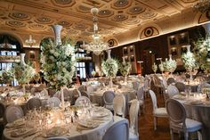 Beautiful wedding décor in Lincoln Hall at The Union League of Philadelphia. (PC: Marie Labbancz Photography)