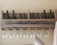 Rustic Wine/Glass Display Rack by Gottogettwisted on Etsy