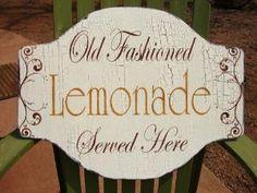 Cottage Signs Decor 24X18 OLD FASHION LEMONADE Vintage Style Handmade | FamilyAtticShoppe - Woodworking on ArtFire