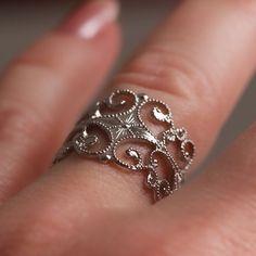 Vintage Filigree Silver Tone Ring by Sarah by TwiceBakedVintage, $10.00