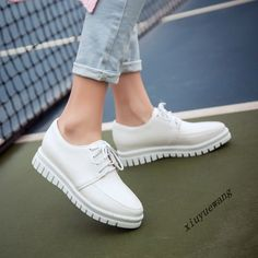 Womens British Fashion Lace Up Pu Leather Student Casual Pumps Low Top Shoes Sz