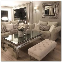 Cozy Living Room Inspiration - 50 Sophisticated Formal Living Room To Try At Home Living Room Decor Cozy, Formal Living Rooms, Living Room Interior, Home Living Room, Apartment Living, Living Room Designs, Cozy Apartment, Cool Living Room Ideas, Silver Living Room