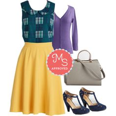 In this outfit: Let Me Patchwork It Top in Forest, Just This Sway Skirt, Charter School Cardigan in Orchid, In Pursuit of Panache Bag, The Zest is History Heel #skirts #plaid #fall #chic #workwear #workappropriate #outfits #ootd #ModCloth #ModStylist #fashion