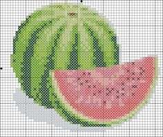 Size inches stitches) This pattern is in PDF format and consists of a floss list, and a color symbol chart. Design used 13 DMC thread colors. Modern Cross Stitch Patterns, Cross Stitch Charts, Cross Stitch Embroidery, Cross Stitch Fruit, Pixel Art, Needlepoint, Knitting Patterns, Diy And Crafts, Canvas Board