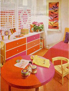 """Pink & Orange Room    Scan from, """"The Practical Encyclopedia of Good Decorating and Home Improvement."""""""