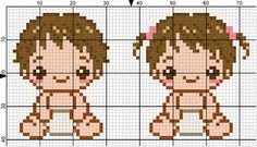 Baby Boy & Girl perler bead pattern