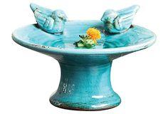 Terracotta Bird Bath w/ Birds, Blue on OneKingsLane.com