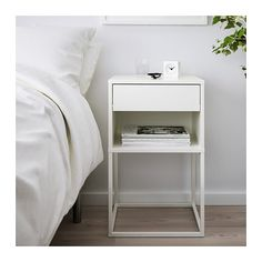 IKEA - VIKHAMMER, Bedside table, white, The drawers close silently and softly, thanks to the integrated soft-closing function. Bedside Table Ikea, Small Nightstand, White Bedside Tables, Nightstands, Nightstand Ideas, Ikea Table, Bedroom Furniture, Bedroom Decor, Ikea Bedroom