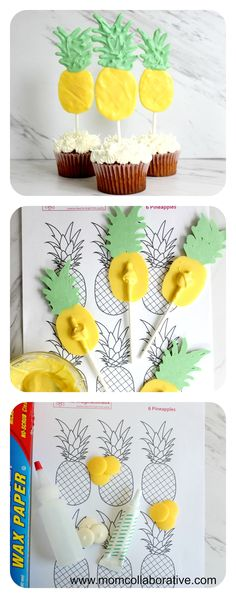 DIY pineapple cupcake topper candies tutorial! Cupcakes ideas! Cupcakes decorations!Cupcakes for Pineapple theme kids birthday party!
