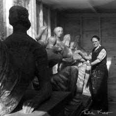 Henry Spencer Moore ( British 1898-1986) in his studio, 1954 photo: Ida Kar (1908-1974).