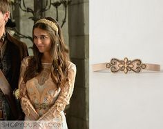 Kenna (Caitlin Stasey) wears this light pink embellished belt in this episode of Reign. It is the Anthropologie Saint Germain Belt. Buy it HERE