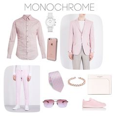 """Monochrome pink suit"" by slate-axel ❤ liked on Polyvore featuring Giorgio Armani, Richard James, Slowear, adidas, Emporio Armani, Yves Saint Laurent, ETON, Barton Perreira, Incase and men's fashion"