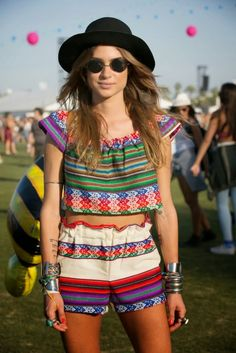 Coachella Fashion: Boho Multi-Colored Crop Top Outfit #johnnywas