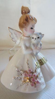 Josef Original girl figurine with kitty, Favorite saying series, 1945-1962-mint! | eBay