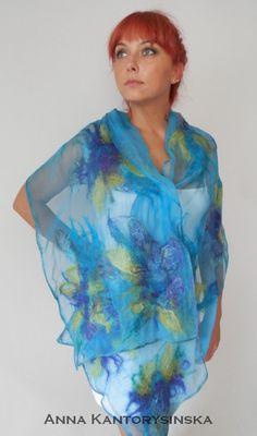 nuno felted silk scarf shawl wrap BLUE FLOWERS by kantorysinska, $124.00