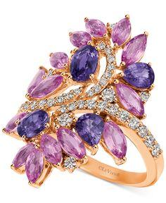 Hello Spring! Le Vian® Genuine Precious Collection Bubblegum Pink Sapphire™, Grape Sapphire™ (4 ct. t.w.) and Vanilla Diamonds® (1/2 ct. t.w.) Ring in 14k Strawberry Gold® at Macy's