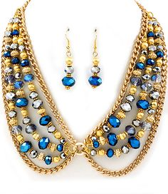BLUE BEAD NECKLACE AND EARRING SET|Bozz Diva Boutique