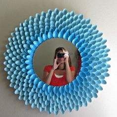 Turquoise DIY Mirror made out of plastic spoons