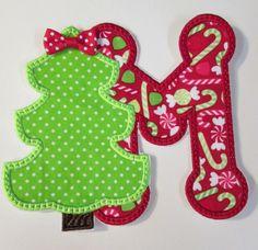 Iron On Applique  Christmas Tree Alphabet by BigBlackDogDesigns