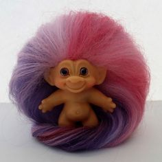 1960's Thomas DAM PETITE Troll Doll Pink Purple Lavender Rose Mohair & Eyes RARE #Dam #Dolls