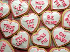 Simple conversation heart cookies!