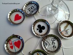 Diy Drink Charms | TodaysCreativeBlog.net  I knew it was smart to save beer bottle caps!-B