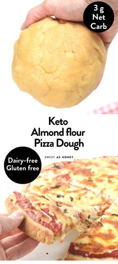 This keto almond flour pizza crust is an easy thin, crispy New-York-style pizza ready in 10 minutes with only 7 ingredients and with only of net carbs! Carbs In Almond Flour, Almond Flour Pizza Crust, Low Carb Flour, Almond Flour Recipes, Paleo Pizza Crust, Almond Flour Cookie Recipe, Almond Pizza Crust Recipe, Desserts With Almond Flour, Almond Flour Baking