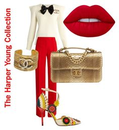 """Never with out my Chanel"" by harperyoungco on Polyvore featuring Yves Saint Laurent, Marco de Vincenzo, Chanel, Charlotte Olympia and Lime Crime"