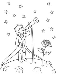 Little Prince with Telescope from Il piccolo principe Little Prince Tattoo, The Little Prince, Hand Embroidery Designs, Embroidery Patterns, Petit Prince Quotes, Colouring Pages, Coloring Books, Drawing Sketches, Il Piccolo Principe