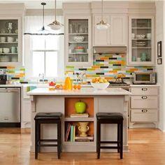 Modwalls orange,multi-colored kitchen backsplash