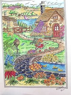 Darkened the colors Adult Coloring, Coloring Pages, Creative Haven Coloring Books, Spring Scene, Autumn Scenes, Mandalay, Country Charm, Colored Pencils, Painting & Drawing