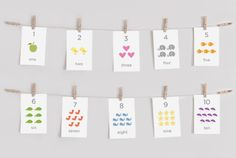 Printable Children's Numbers Flash Cards by ashdelaney on Etsy