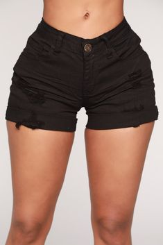 Day Out Distressed Shorts - Black