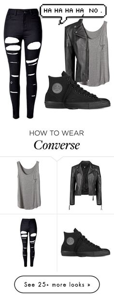 """Bad SAS"" by metteaadahl on Polyvore featuring WithChic, Boohoo and Converse"