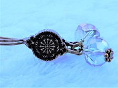 Dark copper aqua crystal earrings