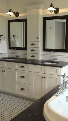 I'm tired of finding set ups that would've worked great with the master bathroom or other areas of our house that we lost! – I love this idea! Storage between the sinks and NOTHING on the counter @ DIY Home Design Bad Inspiration, Bathroom Inspiration, Creative Inspiration, Vibeke Design, Master Bath Remodel, Guest Bathroom Remodel, Beautiful Bathrooms, White Bathrooms, Bathroom Black