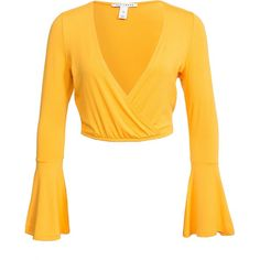 Nly Trend Wrapped Bell Sleeve Top ($7.15) ❤ liked on Polyvore featuring tops, crop tops, yellow, womens-fashion, white top, short crop tops, wrap top, v neck tops and yellow top