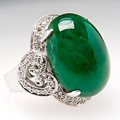 16.9 CARAT EMERALD CABOCHON COCKTAIL RING W/ DIAMOND HALO  MILL GRAIN ACCENTS 18K WHITE GOLD