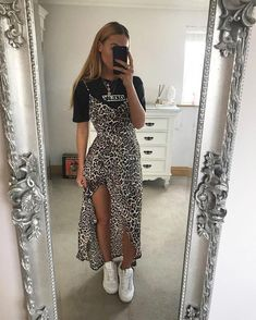 Leopardprint Side Split Maxi-Dress Multi, About Leopardenmuster Side Split Maxi-Kleid Multi Pin You can easily u Mode Outfits, Trendy Outfits, Fashion Outfits, Womens Fashion, Sporty Outfits, Fashion Hats, Fashion Advice, Fashion Fashion, Latest Fashion