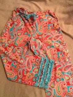 Homemade ruffle pajama pants for Christmas gifts.