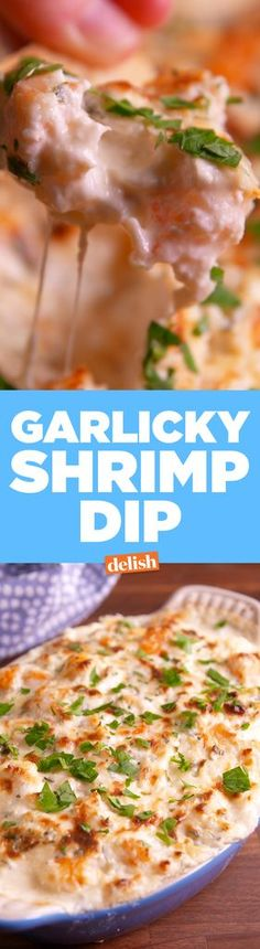 Garlicky Shrimp Dip  - Delish.com. [2 tbsp. extra-virgin olive oil 1 lb. shrimp, peeled and deveined 3 cloves garlic, minced kosher salt Freshly ground black pepper Juice and zest of 1 lemon 8 oz. cream cheese, softened 1/4 c. mayonnaise 3/4 c. shredded mozzarella 1/4 c. grated Parmesan 3 tbsp. fresh parsley, divided]