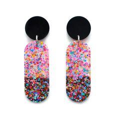 Multicolored star imprinted glitter disc dangle earrings Rainbow glitter lucite dangle earrings Galaxy round disc dangle earrings