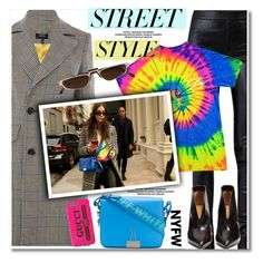 """""""NYFW: Street Style"""" by paculi ❤ liked on Polyvore featuring Karen Millen, Helmut Lang, Off-White, Gucci, Andy Wolf, Isabel Marant, StreetStyle, casual, plaid and contestentry"""