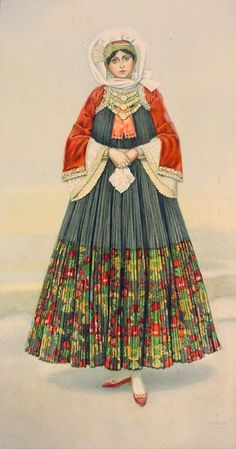 NICOLAS SPERLING Bridal Dress (Aegean Islands, Skopelos) 1930 lithograph on paper after original watercolour Robes Country, Country Dresses, Historical Women, Historical Clothing, Costume Shop, Folk Costume, Ancient Greek Costumes, Greek Traditional Dress, Greek Dress