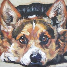 "Pembroke Welsh Corgi Canvas Print Painting Dog LSHEP 8x8"". Z"