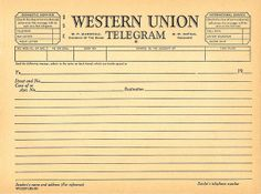Sweetly Scrapped: HUGE Post of New Americana Etsy Banners AND images.but mostly I just LOVE this blank telegram.great to print out and write on in a journal. Journal Pages, Junk Journal, Bullet Journal, Journal Ideas, Vintage Ephemera, Vintage Paper, Vintage Birds, Vintage Labels, New Americana