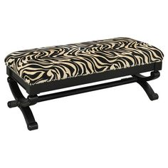 Showcasing nailhead trim and zebra-print upholstery, this wood-framed bench makes an eye-catching addition to your parlor or hall.    ...