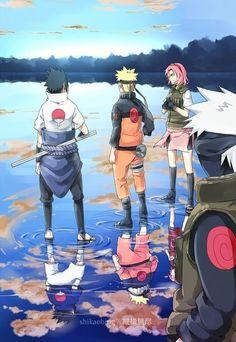 Sasuke, Naruto, and Sakura. Team 7 before and after.