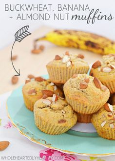 Delicious gluten free buckwheat banana and almond muffins! Healthy and refined sugar free recipe via Wholeheartedly Healthy Healthy Muffin Recipes, Healthy Cake, Healthy Muffins, Healthy Sweets, Healthy Food, Sugar Free Recipes, Sweets Recipes, Real Food Recipes, Yummy Food
